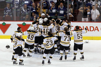 VANCOUVER, BC - JUNE 15:  The Boston Bruins celebrates after defeating the Vancouver Canucks in Game Seven of the 2011 NHL Stanley Cup Final at Rogers Arena on June 15, 2011 in Vancouver, British Columbia, Canada. The Boston Bruins defeated the Vancouver