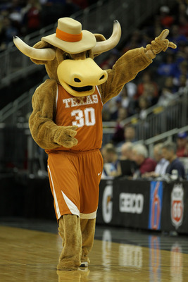 KANSAS CITY, MO - MARCH 11:  The Texas Longhorns mascot performs during their semifinal game against the Texas A&amp;M Aggies in the 2011 Phillips 66 Big 12 Men's Basketball Tournament at Sprint Center on March 11, 2011 in Kansas City, Missouri.  (Photo by Ja