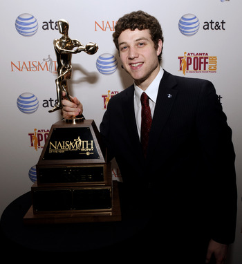 HOUSTON - APRIL 03:  Jimmer Fredette of BYU received the 2011 Naismith Trophy Presented by AT&amp;T at the NABC Guardians of the Game Awards Program on April 3, 2011 in Houston, Texas.  (Photo by Bob Levey/Getty Images)