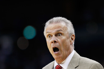 NEW ORLEANS, LA - MARCH 24:  Head coach Bo Ryan of the Wisconsin Badgers argues a call during their game against the Butler Bulldogs in the Southeast regional of the 2011 NCAA men's basketball tournament at New Orleans Arena on March 24, 2011 in New Orlea