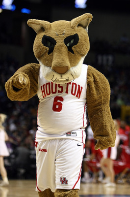 SPOKANE, WA - MARCH 19:  The Houston Cougars mascot performs during a pause in the action against the Maryland Terrapins  during the first round of the 2010 NCAA mens basketball tournament at Spokane Arena on March 19, 2010 in Spokane, Washington.  (Phot