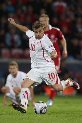 AALBORG, DENMARK - JUNE 11:  Xherdan Shaqiri of Switzerland during the  UEFA European Under-21 Championship Group A match between Denmark and Switzerland at the Aalborg Stadium on June 11, 2011 in Aalborg, Denmark.  (Photo by Michael Steele/Getty Images)