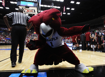 TUCSON, AZ - MARCH 19:  The Temple Owls mascot entertains the crowd during their game against the San Diego State Aztecs during the third round of the 2011 NCAA men's basketball tournament at McKale Center on March 19, 2011 in Tucson, Arizona.  (Photo by