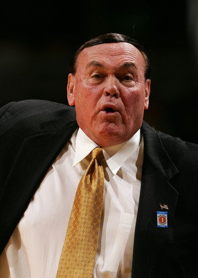CHICAGO - MARCH 10:  Head coach Gene Keady of the Purdue Boilermakers reacts against the Iowa Hawkeyes during the first day of the Big Ten Men's Conference Basketball Tournament March 10, 2005 at the United Center in Chicago, Illinois. The game was Keady'