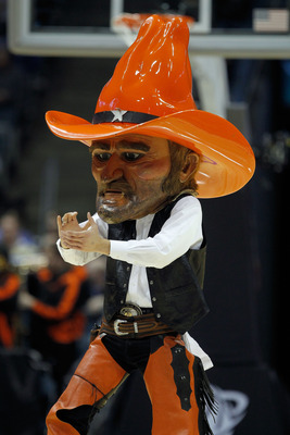MILWAUKEE - MARCH 19:  The Oklahoma State Cowboys mascot performs during a break in the game against the Georgia Tech Yellow Jackets during the first round of the 2010 NCAA men's basketball tournament at the Bradley Center on March 19, 2010 in Milwaukee,