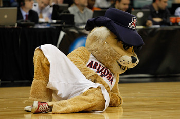 TULSA, OK - MARCH 18:  The Arizona Wildcats mascot performs during the second round game against the Memphis Tigers in the 2011 NCAA men's basketball tournament at BOK Center on March 18, 2011 in Tulsa, Oklahoma.  (Photo by Tom Pennington/Getty Images)