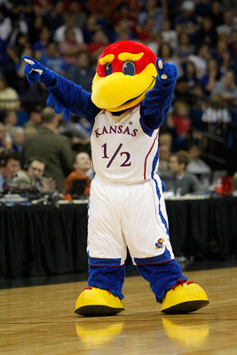 TULSA, OK - MARCH 20:  The Kansas Jayhawks mascot performs during the third round game against the Illinois Fighting Illini in the 2011 NCAA men's basketball tournament at BOK Center on March 20, 2011 in Tulsa, Oklahoma.  (Photo by Tom Pennington/Getty Im