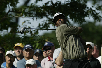 OLYMPIA FIELDS, IL - JUNE 14:  Vijay Singh of Fiji hits his tee shot on the ninth green during the third round of the 2003 US Open on the North Course at the Olympia Fields Country Club on June 14, 2003 in Olympia Fields, Illinois.  (Photo by Craig Jones/