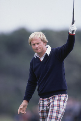 American golfer Jack Nicklaus during the British Open at Muirfield Golf Club in Scotland, 1980. (Photo by Getty Images)