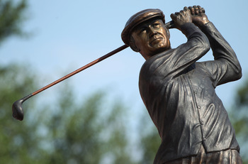 FT. WORTH, TX - MAY 29:  A statue of Ben Hogan is seen near the clubhouse during the third round of the 2010 Crowne Plaza Invitational at the Colonial Country Club on May 29, 2010 in Ft. Worth, Texas.  (Photo by Scott Halleran/Getty Images)