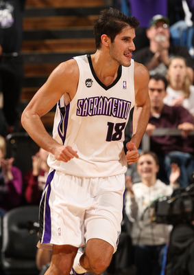 SACRAMENTO, CA - DECEMBER 23:  Omri Casspi #18 of the Sacramento Kings celebrates after hitting a shot against the Cleveland Cavaliers during an NBA game at ARCO Arena on December 23, 2009 in Sacramento, California.  NOTE TO USER: User expressly acknowled
