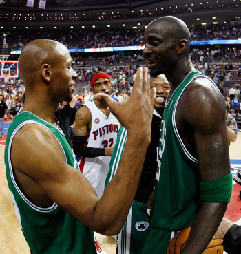 AUBURN HILLS, MI - MAY 30:  Kevin Garnett #5 and  Ray Allen #20 of the Boston Celtics celebrate after defeating the Detroit Pistons to advance to the NBA Finals in Game Six of the Eastern Conference finals during the 2008 NBA Playoffs at the Palace of Aub