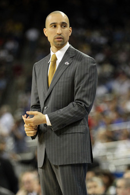 HOUSTON, TX - APRIL 02:  Head coach Shaka Smart of the Virginia Commonwealth Rams reacts from the sidelines against the Butler Bulldogs during the National Semifinal game of the 2011 NCAA Division I Men's Basketball Championship at Reliant Stadium on Apri