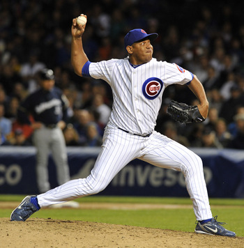 CHICAGO, IL - JUNE 13: Carlos Marmol # 49 of the Chicago Cubs pitches against the Milwaukee Brewers on June 13, 2011 at Wrigley Field in Chicago, Illinois. The Cubs defeated the Brewers 1-0.  (Photo by David Banks/Getty Images)