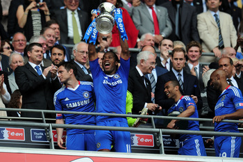 LONDON, ENGLAND - MAY 15:  Didier Drogba of Chelsea celebrate winning the FA Cup sponsored by E.ON Final match between Chelsea and Portsmouth at Wembley Stadium on May 15, 2010 in London, England.  (Photo by Shaun Botterill/Getty Images)