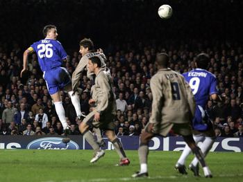LONDON - MARCH 8: John Terry of Chelsea scores thier fourth goal during the UEFA Champions League, First Knockout Round, Second Leg match between Chelsea and Barcelona at Stamford Bridge on March 8, 2005 in London, England.  (Photo by Shaun Botterill/Gett