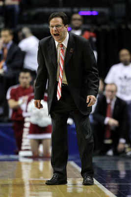 INDIANAPOLIS, IN - MARCH 10:  Head coach Tom Crean of the Indiana Hoosiers reacts as he coaches against the Penn State Nittany Lions during the first round of the 2011 Big Ten Men's Basketball Tournament at Conseco Fieldhouse on March 10, 2011 in Indianap