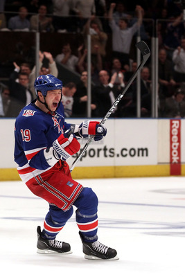 NEW YORK, NY - APRIL 20:  Ruslan Fedotenko #19 of the New York Rangers celebrates after Marian Gaborik #10 scored a goal in the second period against the Washington Capitals in Game Four of the Eastern Conference Quarterfinals during the 2011 NHL Stanley