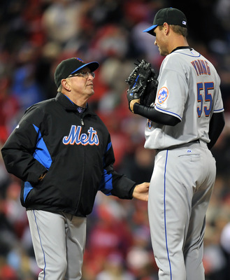 PHILADELPHIA, PA - APRIL 05: Pitching coach Dan Warthen #59 talks with starting pitcher Chris Young #55 of the New York Mets during the game against the Philadelphia Phillies at Citizens Bank on April 5, 2011 Park in Philadelphia, Pennsylvania. The mets w