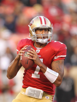 SAN FRANCISCO, CA - AUGUST 20:  Colin Kaepernick #7 of the San Francisco 49ers in action during their game against the Oakland Raiders at Candlestick Park on August 20, 2011 in San Francisco, California.  (Photo by Ezra Shaw/Getty Images)