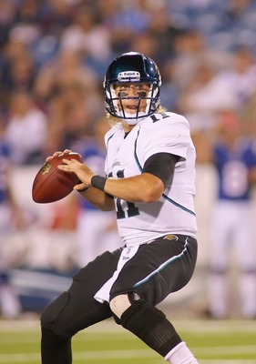 ORCHARD PARK, NY - AUGUST 27:  Blaine Gabbert #11 of the Jacksonville Jaguars readies to throw against the Buffalo Bills at Ralph Wilson Stadium on August 27, 2011 in Orchard Park, New York .Buffalo won 35-32 in overtime  (Photo by Rick Stewart/Getty Imag