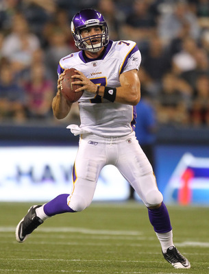 SEATTLE - AUGUST 20:  Quarterback Christian Ponder #7 of the Minnesota Vikings rolls out against the Seattle Seahawks at CenturyLink Field on August 20, 2011 in Seattle, Washington. The Vikings won 20-7. (Photo by Otto Greule Jr/Getty Images)