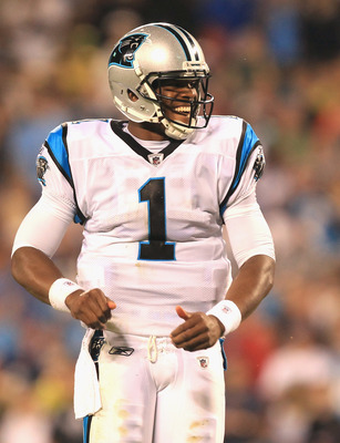 CHARLOTTE, NC - AUGUST 13:  Cam Newton #1 of the Carolina Panthers during their preseason game against the New York Giants at Bank of America Stadium on August 13, 2011 in Charlotte, North Carolina.  (Photo by Streeter Lecka/Getty Images)