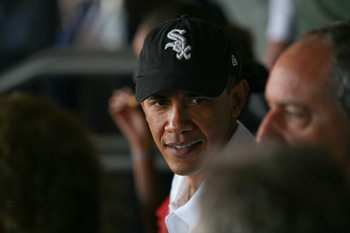 WASHINGTON - JUNE 18:  (AFP OUT) US President Barack Obama watches the Washington Nationals play against the Chicago White Sox at Nationals Park on June 18, 2010 in Washington, DC.  (Photo by Gary Fabiano-Pool/Getty Images)
