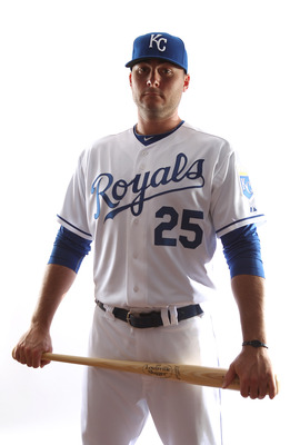 SURPRISE, AZ - FEBRUARY 23:  Clint Robinson #25 of the Kansas City Royals poses for a portrait during Spring Training Media Day on February 23, 2011 at Surprise Stadium in Surprise, Arizona..  (Photo by Jonathan Ferrey/Getty Images)