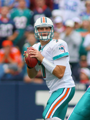 ORCHARD PARK, NY - SEPTEMBER 12:  Chad Henne #7 of the Miami Dolphins readies to pass against the Buffalo Bills  during the NFL season opener at Ralph Wilson Stadium on September 12, 2010 in Orchard Park, New York. Miami won 15-10.  (Photo by Rick Stewart