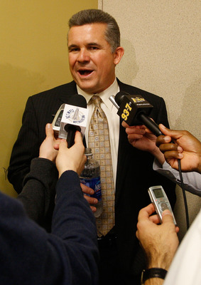 PITTSBURGH, PA  - JANUARY 11:  The new University of Pittsburgh head football coach Todd Graham speaks to the media during a press conference at the University of Pittsburgh Panthers South Side training facility on January 11, 2011 in Pittsburgh, Pennsylv