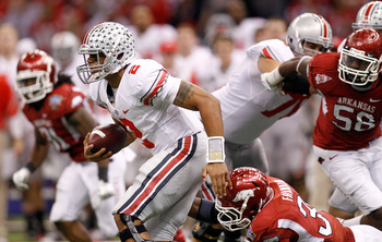 NEW ORLEANS, LA - JANUARY 04:  Terrelle Pryor #2 of the Ohio State Buckeyes runs with the ball in the second half against the Arkansas Razorbacks during the Allstate Sugar Bowl at the Louisiana Superdome on January 4, 2011 in New Orleans, Louisiana.  (Pho