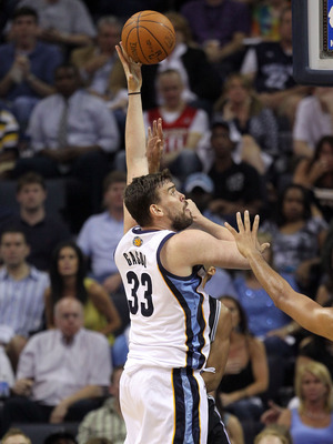 MEMPHIS, TN - APRIL 29:  Marc Gasol #33 of the Memphis Grizzlies shoots the ball against the San Antonio Spurs in Game Six of the Western Conference Quarterfinals in the 2011 NBA Playoffs at FedExForum on April 29, 2011 in Memphis, Tennessee. NOTE TO USER