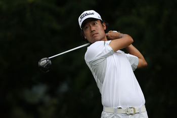 BETHESDA, MD - JUNE 16:  Kevin Na watches a shot during the first round of the 111th U.S. Open at Congressional Country Club on June 16, 2011 in Bethesda, Maryland.  (Photo by Andrew Redington/Getty Images)