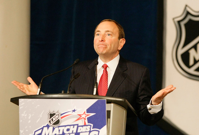 MONTREAL - JANUARY 24:  NHL Commissioner Gary Bettman speaks at the NHL Board of Governors Meeting during the 2009 NHL All-Star weekend on January 24, 2009 at the Bell Centre in Montreal, Canada.  (Photo by Richard Wolowicz/Getty Images)