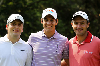 PONTE VEDRA BEACH, FL - MAY 10:  (L-R) Francesco Molinari of Italy, Matteo Manassero of Italy and Edoardo Molinari of Italy smile together during a practice round prior to the start of THE PLAYERS Championship held at THE PLAYERS Stadium course at TPC Saw
