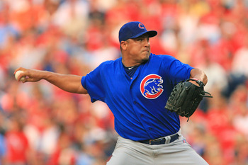 PHILADELPHIA - JUNE 10: Starting pitcher Carlos Zambrano #38 of the Chicago Cubs throws a pitch during a game against the Philadelphia Phillies at Citizens Bank Park on June 10, 2011 in Philadelphia, Pennsylvania. (Photo by Hunter Martin/Getty Images)