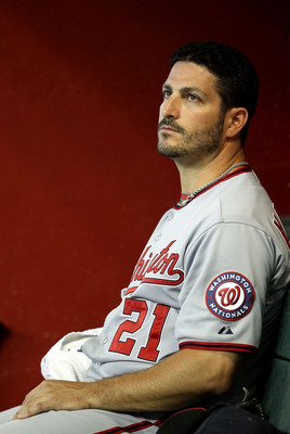 PHOENIX, AZ - JUNE 05:  Starting pitcher Jason Marquis #21 of the Washington Nationals sits in the dugout during the Major League Baseball game against the Arizona Diamondbacks at Chase Field on June 5, 2011 in Phoenix, Arizona.  (Photo by Christian Peter