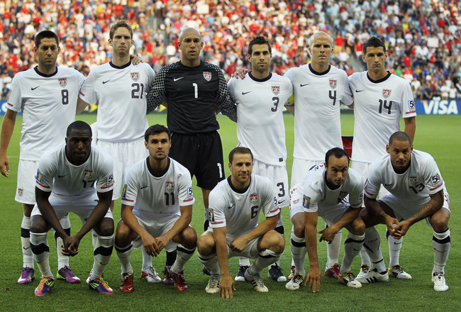 KANSAS CITY, KS - JUNE 14:  The USA team poses for a team pictures prior to the start of the GoldCup game between the USA and Guadeloupe on June 14, 2011 at LiveStrong Sporting Park in Kansas City, Kansas.  (Photo by Jamie Squire/Getty Images)