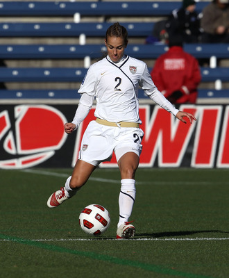 BRIDGEVIEW, IL - NOVEMBER 27: Heather Mitts #2 of the United States controls the ball against Italy during a Women's World Cup Qualifying match at Toyota Park on November 27, 2010 in Bridgeview, Illinois. The United States defeated Italy 1-0 to win the se
