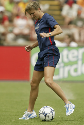 NEW ORLEANS - JULY 13:  Brandi Chastain of the U.S. Women's national team warms up prior to their match against the Brazil Women's national team at Tad Gormley Stadium on July 13, 2003 in New Orleans, Louisiana.  The U.S. defeated Brazil 1-0.  (Photo by R