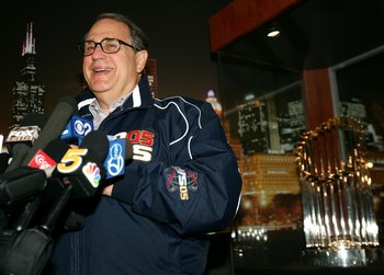 CHICAGO - APRIL 3:  Chairman Jerry Reinsdorf of the Chicago White Sox speaks to the media after delivery of the 2005 Championship rings on April 3, 2006 at U.S. Cellular Field in Chicago, Illinois.  (Photo by Jonathan Daniel/Getty Images)