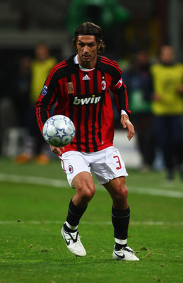 MILAN, ITALY - MARCH 04: Paolo Maldini of AC Milan in action  during the UEFA Champions League 1st knockout round 2nd leg match between AC Milan and Arsenal at the San Siro stadium on March 4, 2008 in Milan, Italy.  (Photo by Mike Hewitt/Getty Images)