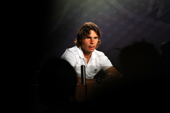 LONDON, ENGLAND - JULY 04:  2010 Men's Singles Final Champion, Rafael Nadal of Spain speaks during a press conference after defeating Tomas Berdych of Czech Republic on Day Thirteen of the Wimbledon Lawn Tennis Championships at the All England Lawn Tennis