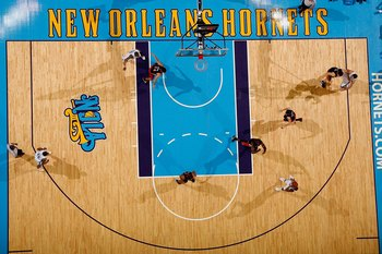 NEW ORLEANS - FEBRUARY 06:  A general view of the court during the game against the Toronto Raptors and the New Orleans Hornets on February 6, 2009 in New Orleans, Louisiana.  NOTE TO USER: User expressly acknowledges and agrees that, by downloading and/o