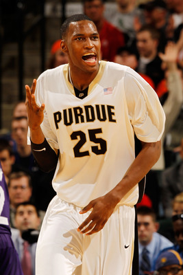 INDIANAPOLIS - MARCH 12:  Center JuJuan Johnson #25 of the Purdue Boilermakers celebrates after a play against the Northwestern Wildcats during the quarterfinals of the Big Ten Men's Basketball Tournament at Conseco Fieldhouse on March 12, 2010 in Indiana