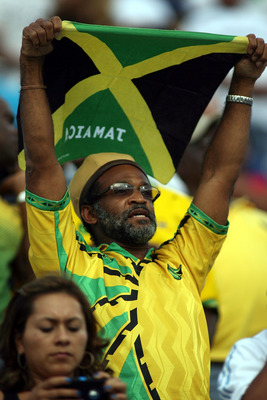 MIAMI, FL - JUNE 10: A fan cheers as Jamaica takes on Guatemala at FIU Stadium on June 10, 2011 in Miami, Florida.  (Photo by Marc Serota/Getty Images)