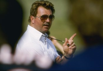 Aug 1985:  Head coach Mike Ditka of the Chicago Bears coaches his team during Bears Training Camp at the University of Wisconsin-Platteville in Platteville, Wisconsin.  Mandatory Credit: Jonathan Daniel  /Allsport