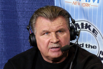NFL Pro Football Hal of Famer Mike Ditka talks to the WFAN radio at the Jacksonville Convention Center on February 2, 2005  (Photo by Al Messerschmidt/Getty Images)