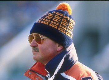 17 Dec 1989: Chicago Bears head coach Mike Ditka looks on during a game against the Green Bay Packers at Soldier Field in Chicago, Illinois. The Packers won the game, 40-28.
